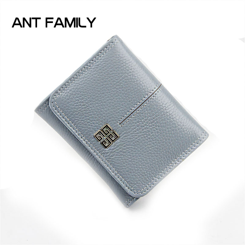 Women Wallet Genuine Leather Short Card Holder Coin Purse 2018 Ladies Leather Wallets Small Female Clutch Bag Cowhide Leather
