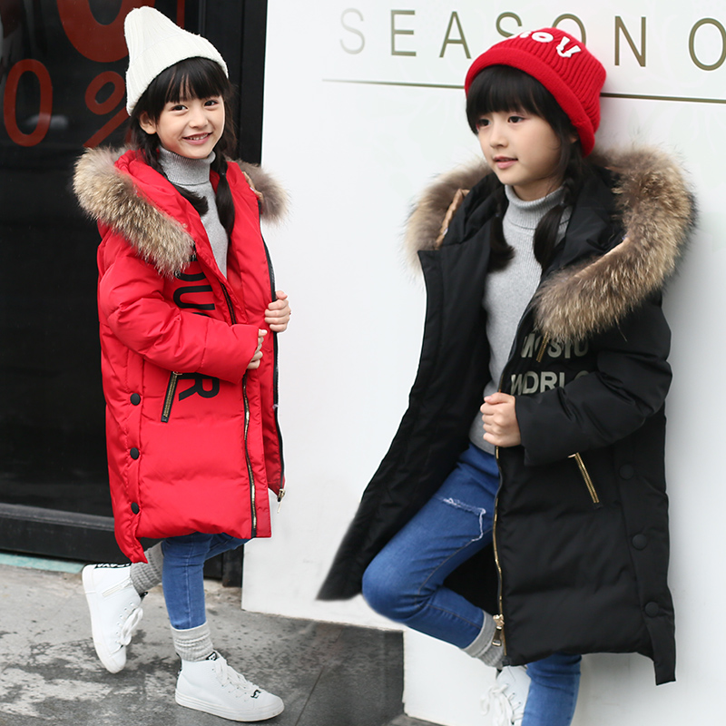 ФОТО 2016 new arrival winter kids Girl 80% white duck down jacket big fur hoody thicken girls coats hooded winter jacket for girls