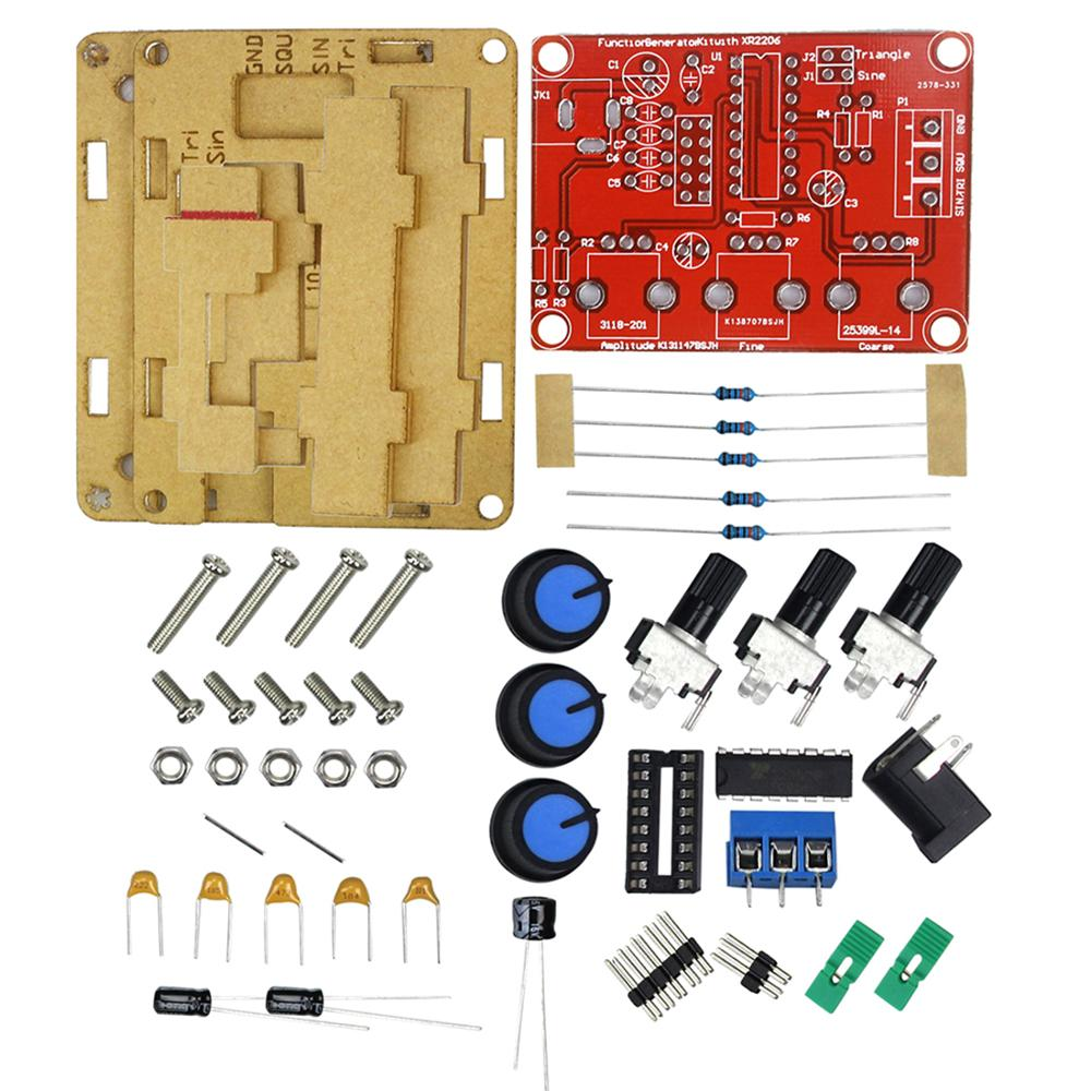XR2206 Function Generator Kit Square Wave Signal Generator Model 1Hz-1MHz Adjustable Frequency Pulse With Cover Box Protective