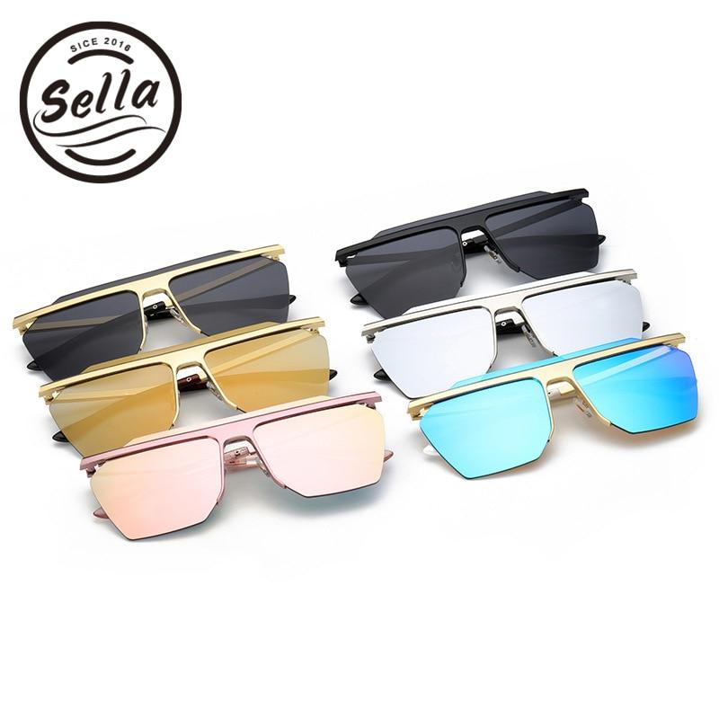 ac8feceec New Summer Style Men Women Square Sunglasses Colorful Mirror Lens Semi  Rimless Conjoined Fashion Sun Glasses-in Sunglasses from Apparel  Accessories on ...