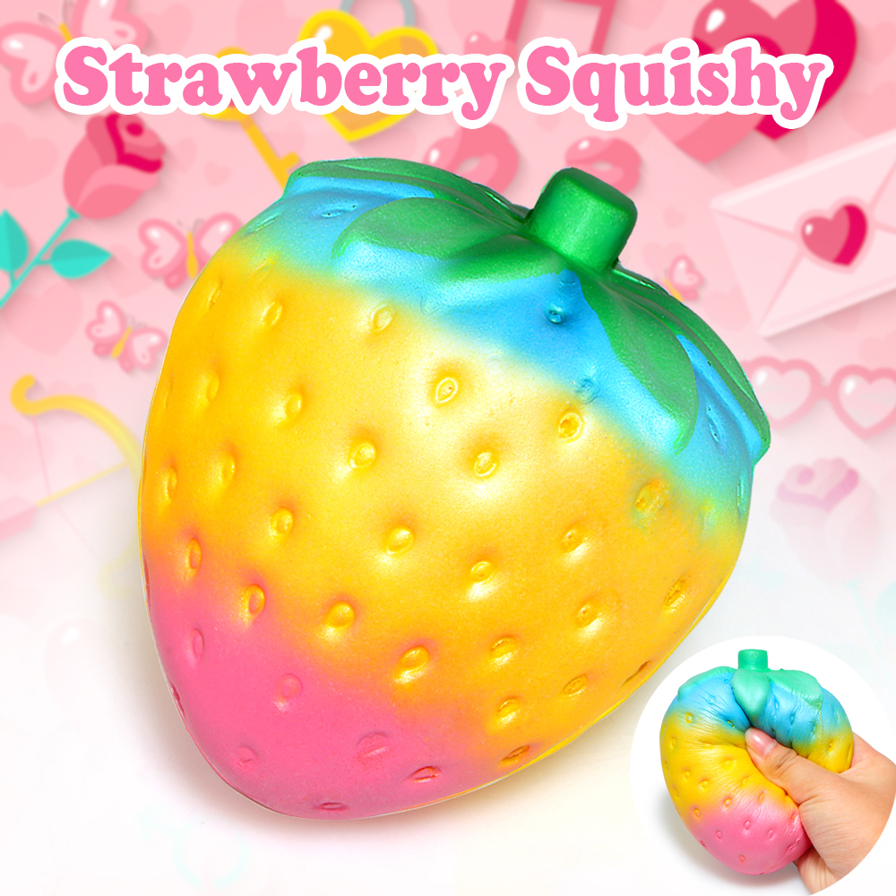 Cute Rainbow Strawberry Squishy Super Jumbo Scented Slow Rising Rare Fun Decompression Fun Toy for Kids Relieves Stress Anxiety