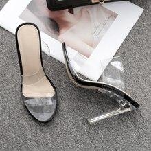 цена на Women Slippers 2019 Crystal Transparent Chunky Heel Slides Woman Pumps PVC Clear High Square Heels Sandals Open Toe Sexy Shoes