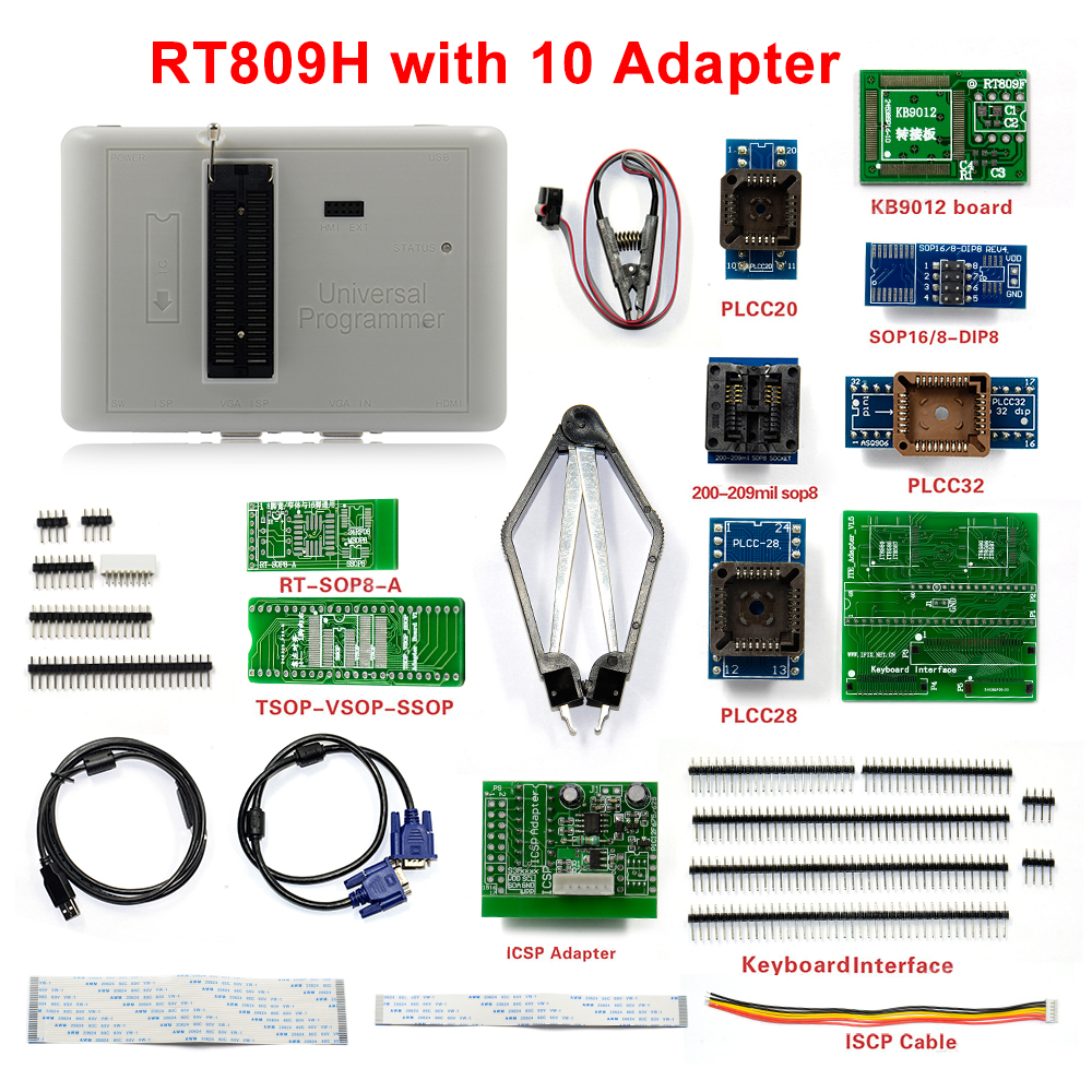 Sinstar Original Universal RT809H FLASH Programmer with 10 Adapters New Arrival Free shipping