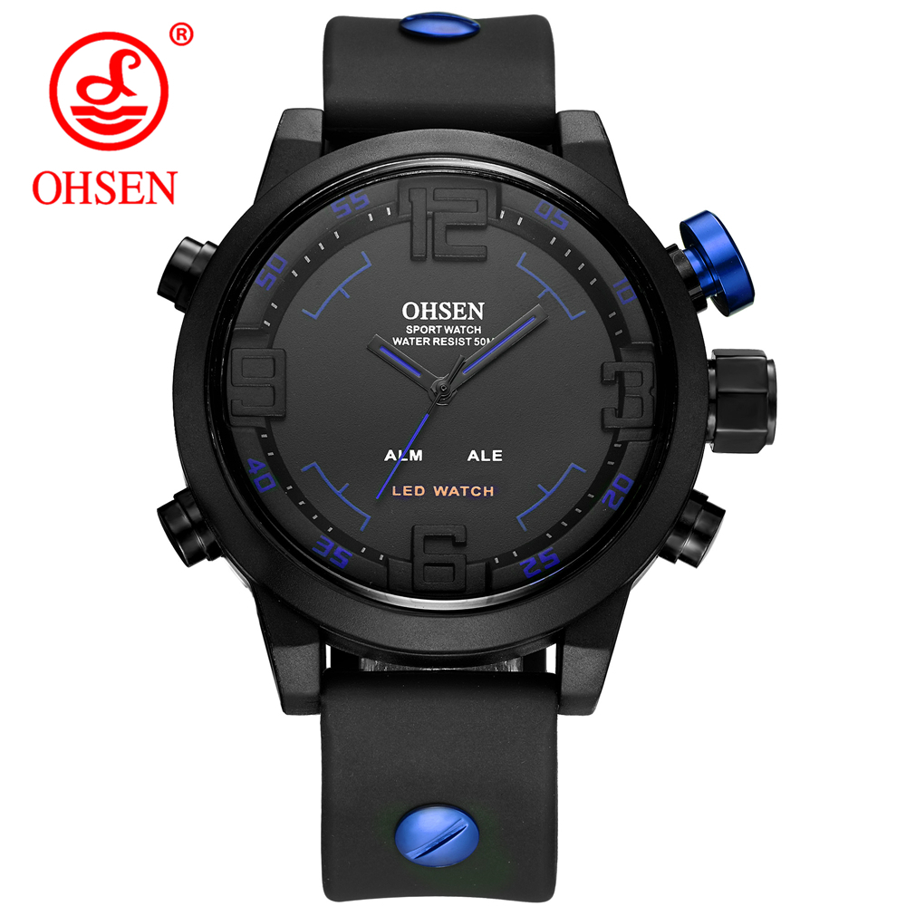 2017 Hot Sale Top Fashion Watch Men OHSEN Brand Casual Horloges Mannen Multifunction Dual Time Men's Watches Sports Wristwatches bewell 2017 hot sale fashion wood watch men mens watches top brand luxury reloj hombre big horloges mannen with gift box 100ag