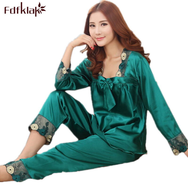 Womens Silk   Pajamas     Sets   Spring Summer Female Lace Embroidered Satin Pyjamas Sleepwear Loungewear pijamas mujer M-2XL E0505