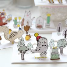 Creative Forest Animals Cartoon 3D Greeting Card Postcard Birthday Gift Card Set Message Card Letter Envelope Gift Card