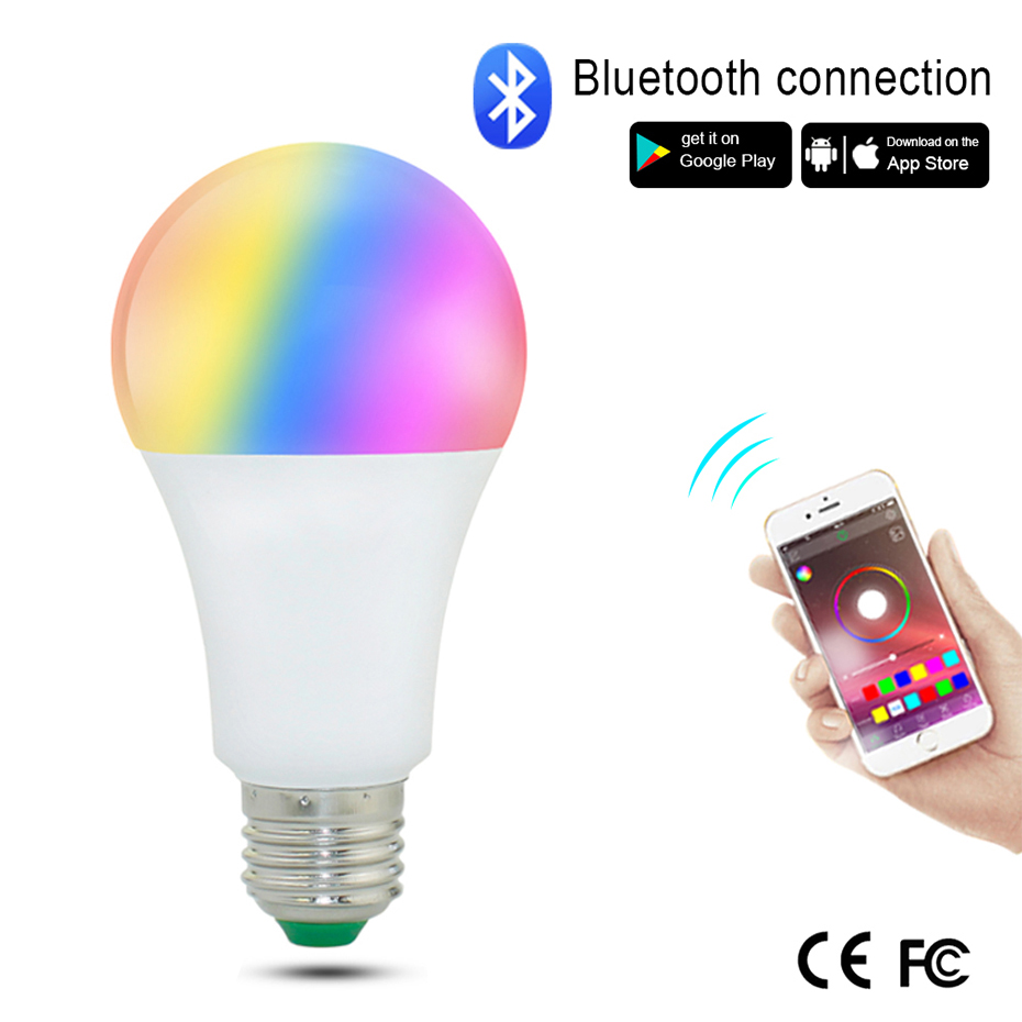 Wireless Bluetooth Color Changing LED Light Bulb AC85-265V E27 Lampada LED Spotlight RGB Magic Light Bulb Lamp APP Control