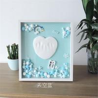 Taoqueen Newborn gift Colorful DIY wool ball hand footprint photo frame