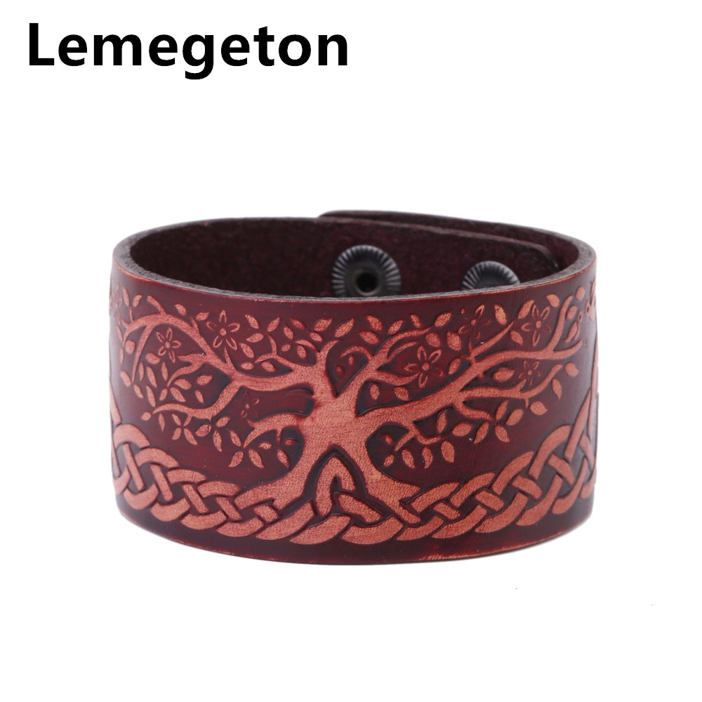 Lemegeton Dark Brown Men's Leather Cuff Bracelets & Bangles With Double Row  Safety Clasp Tree Of