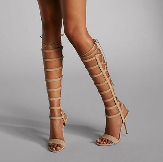Новые приходят женские Кожаные Назад Молния Открытым Носком Высокий каблук насосы колено ...