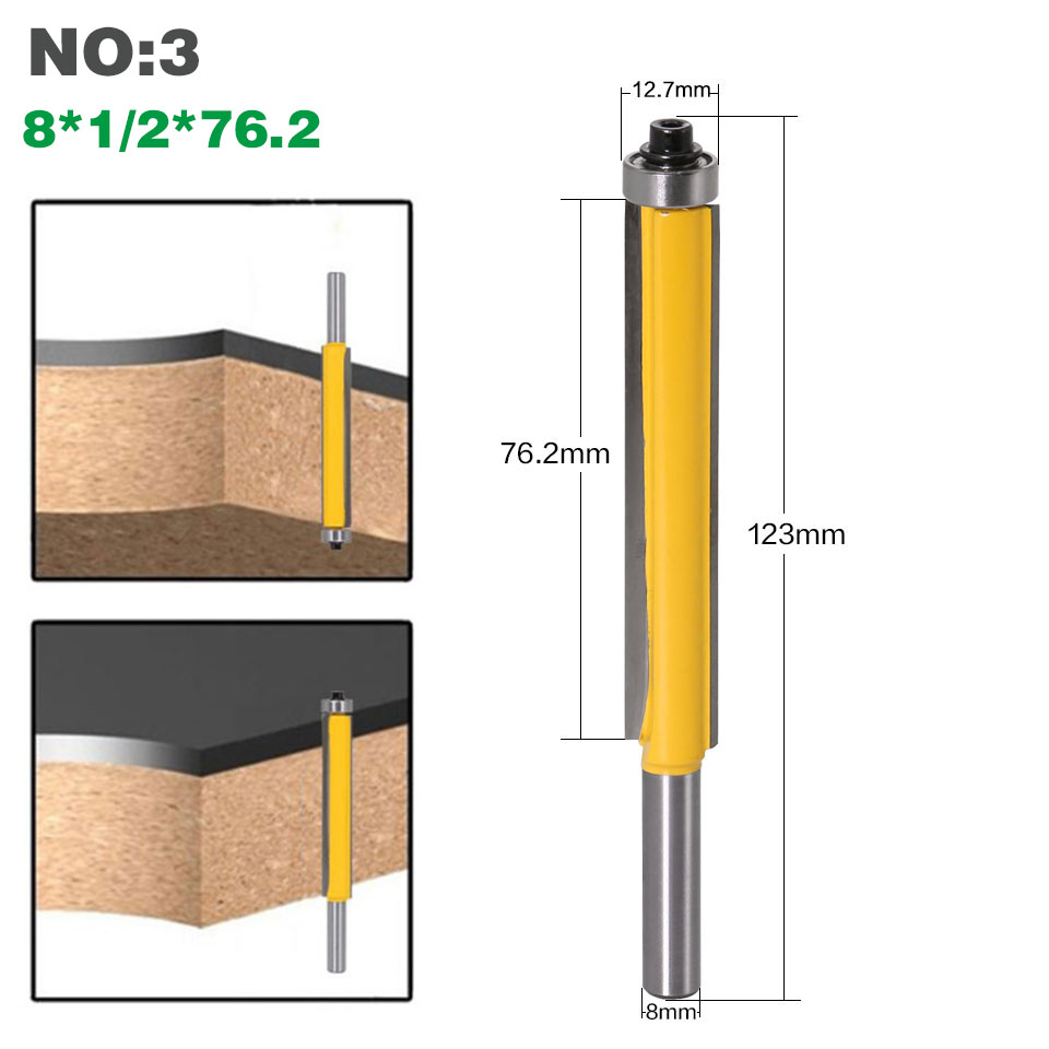 """HTB1dC.OXEGF3KVjSZFmq6zqPXXaK - 1pc 8mm Shank 2"""" Flush Trim Router Bit with Bearing for Wood Template Pattern Bit Tungsten Carbide Milling Cutter for Wood 02017"""
