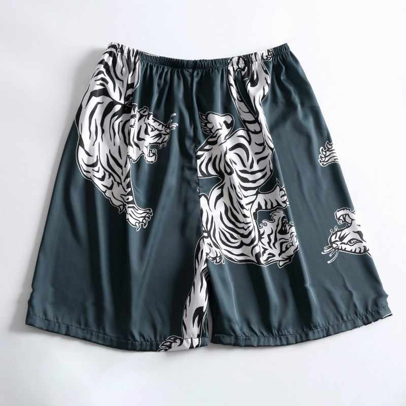 Novedad en pantalones cortos para dormir de satén sedoso para hombre, ropa informal de verano para el hogar, pantalones cortos con estampado de animales, pantalones cortos de pijama para hombre