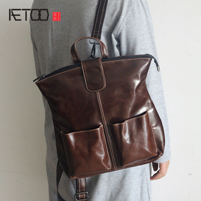 AETOO The new first layer of leather simple shoulder bag leisure fashion wild ladies backpack men leather bags aetoo leather men bag wild european and american first layer of leather men s shoulder bag trend backpack