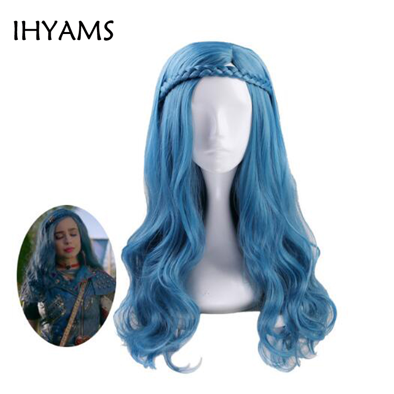 Descendants 2 Evie Blue Green Mix Long Wavy Wig Cosplay Costume Women Synthetic Hair Party Role Play Wigs + Wig Cap
