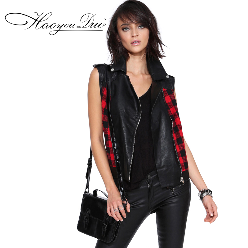 European Leather Vest For Women Spring New England Plaid Punk Style Pu Leather Stitching Jacket Size XS S M L XL XXL A685