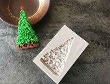 1pcクリスマスツリーシリコーン型フォンダンモールドケーキデコレーションツールチョコレートgumpasteモールドウエディングB064
