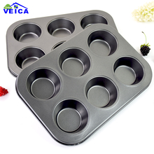 2017 Promotion Hot Sale Baking Dish Round Non Stick Carbon Steel Bakeware 6 Cups Cake Cupcake Mold Pan Cookie Baking Pan