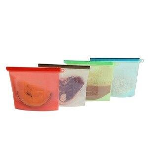 Image 2 - 4 יחידות\סט אבק לשימוש חוזר סיליקון מזון שקית ואקום אוטם מטבח פירות בשר טרי אחסון תיק כורכת מקרר מזון אחסון מיכל