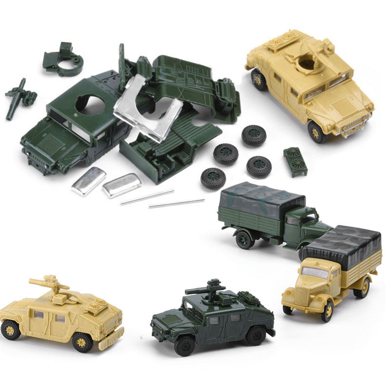 8Set  Assembly Us Army 1/72 Plastic Model Building Kits Toys Car Hummer Camion Resin Model Gift For Children