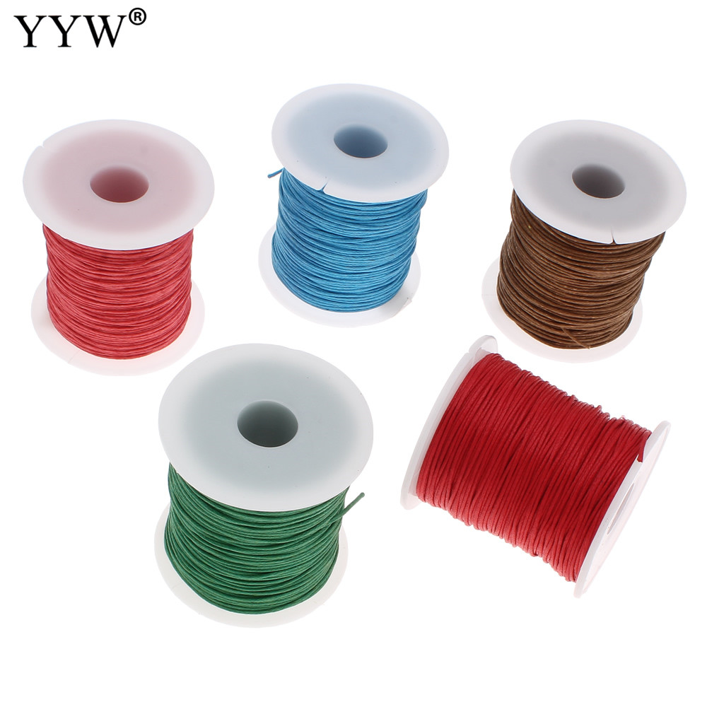 100Yards/Spool Waxed Cotton Cord 1mm <font><b>Wax</b></font> Linen Cord plastic spool DIY Necklace more colors for choice 1mm Waxed Cotton Cord image