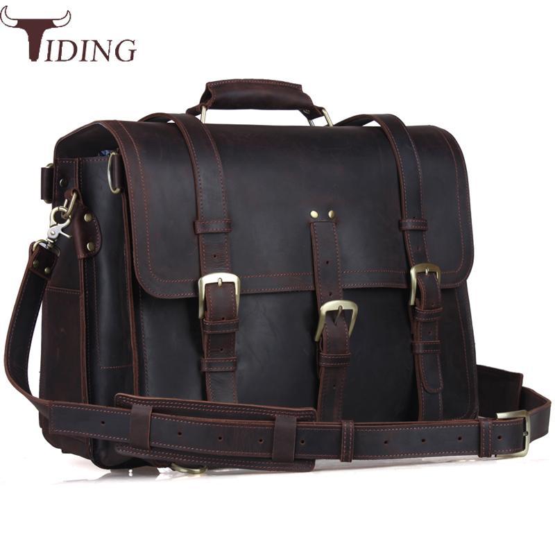 Tiding Cow Leather Designer Travel Backpack 17 Inch Laptop Briefcase Large Adventure Shoulder Bag Men Multi