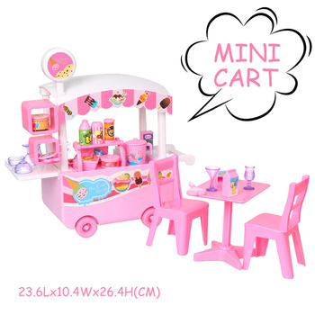 Mini Ice Cream Cart Toys Pretend Play Kitchen Toys Snacks and Sweets Food Cart Play Set for Kids Children Educational Toy ice cream cart toy