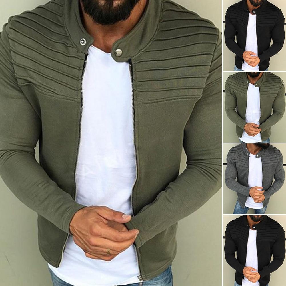 HTB1dC0JXLvsK1RjSspdq6AZepXan New Men's Winter Zip up Slim Collar Shoulder Ruched Jacket Tops Long Sleeve Casual Coat Outerwear Fleece jacket