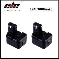 2x Eleoption 12V 3000mAh Ni MH Replacement Power Tool Battery For Hitachi EB1212S EB1214L EB1214S DS