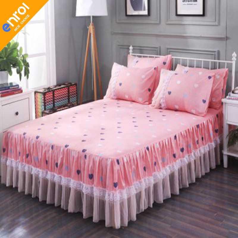 Домашние кружевные с цветочным принтом полиэфирные постельные юбки эластичные