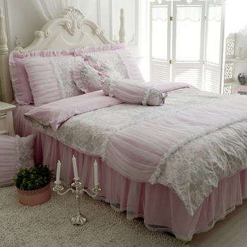 Spring&autumn Cotton peach Duvet Cover Set  princess candy girl lace Europe patchwork bedding room home textile FG176