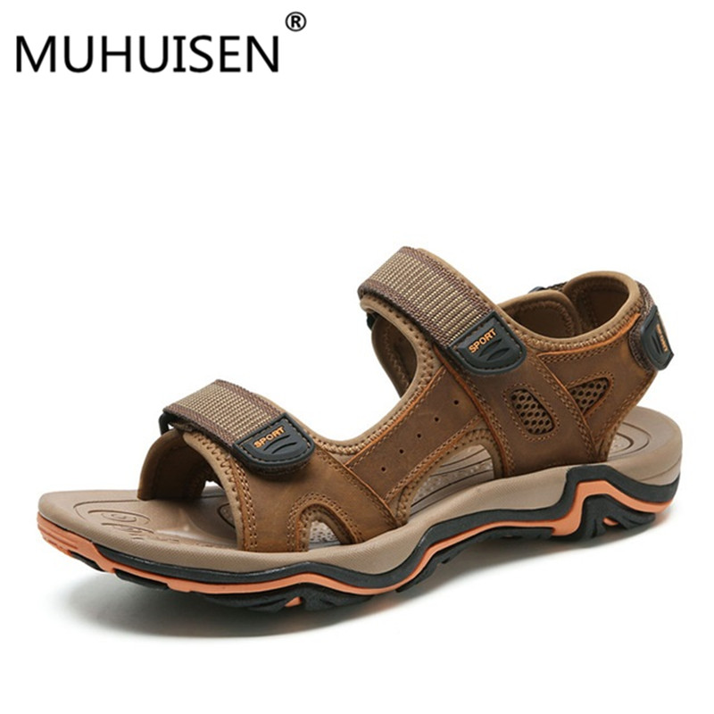 Men Sandals Summer Cow Leather New For Beach Male Shoes Breathable Fashion Mens Casual Shoes Sandals Zapatos Hombre