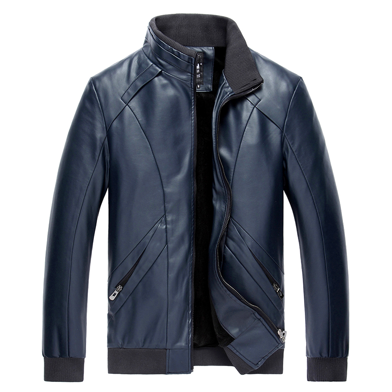 2017 New Brand Fashion Leather Men S Jackets Mandarin Collar Casual Leather Coat Four Colors Regular