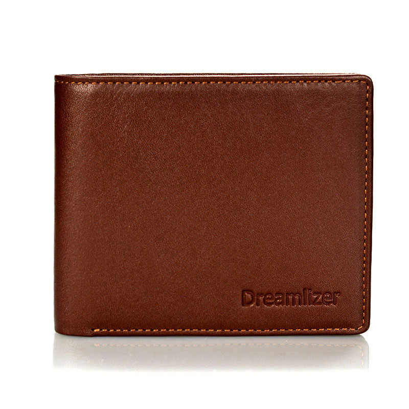 Dreamlizer Men Italian Leather Wallet Young Boy Brand Short Pocket Purse Male Bifold Thin Money Bag Wallet