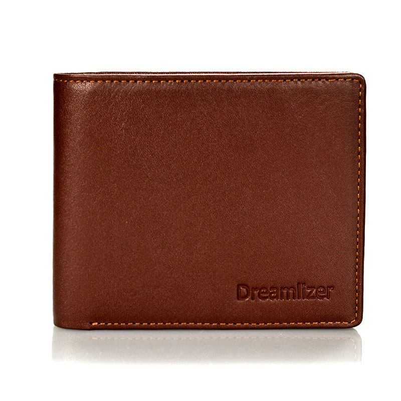 Dreamlizer Men Italian Leather Wallet Young Boy Brand Short Pocket Purse Male Bifold Thin Money Bag Wallet