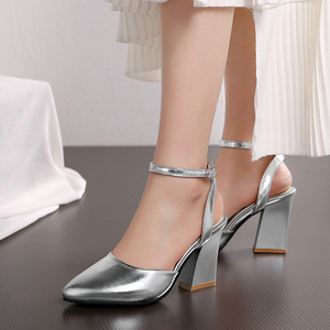 Image 3 - 2020 new Women Pumps Thick Heels Ladies Party Wedding shoes Gold silver Shoes Summer Buckle Ankle StrapFootwear Size 34 43 f532