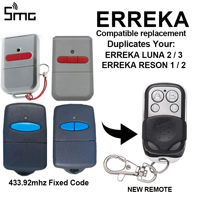 ERREKA LUNA2 LUNA3 ERREKA RESON1 ERREKA RESON2 Garage Door Gate Remote Control Replacement/Duplicator 433mhz