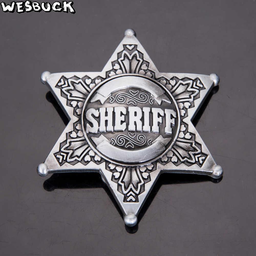 Merek WesBuck Sheriff Bintang Bendera Amerika Buckls Meltal Keren Sabuk Untuk pria Sabuk Gesper Barat Koboi Cowgirl Boucle Ceinture