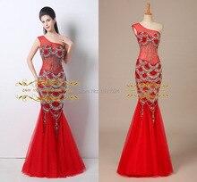 2016 durchsichtig Sexy Red Mermaid Dubai abendkleider Arabische schulter Luxus Prom Kleider Vestidos de festa TK30