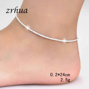 ZRHUA Fashion Simple Chain For Women Anklet Hot Sale 925 Sterling Silver Anklets Bracelet For Women Foot Jewelry Accessories 2