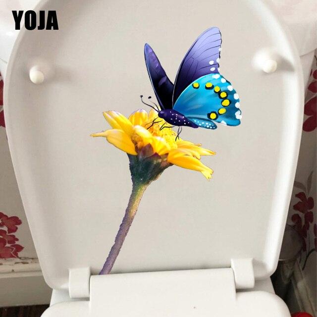 YOJA-autocollant mural de 14/8x22 cm | Branche fleurie jaune, décor de siège de toilette papillon, mignon, design de dessin animé, pour salle de maison