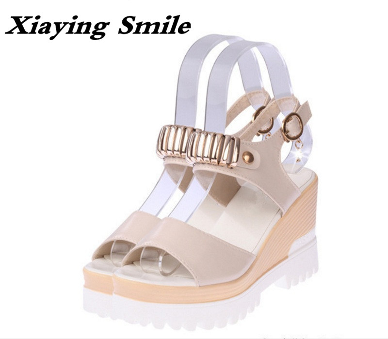 Xiaying Smile Summer Woman Sandals Shoes Platform Women Pumps Buckle Strap Wedges Heels Sweet Candy Color Thick Sole Women Shoes xiaying smile new summer woman sandals shoes women pumps platform fashion casual square heel buckle strap open toe women shoes