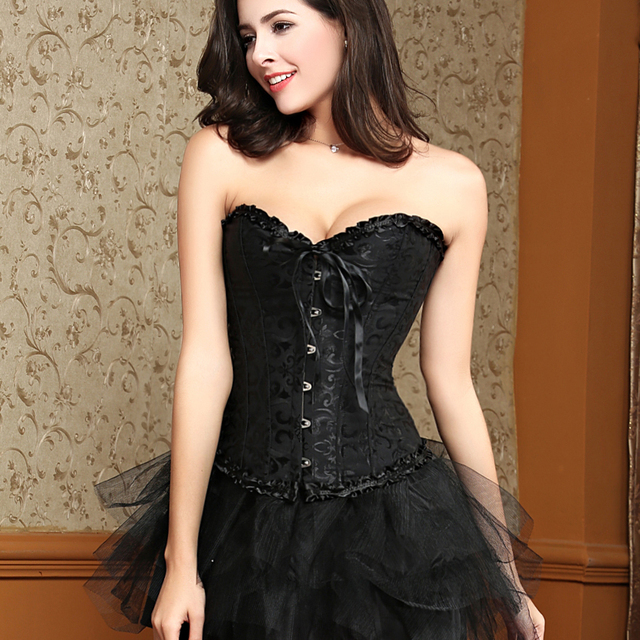 Women Black Corset Dress Steel Boned Plus Size Halloween Costumes