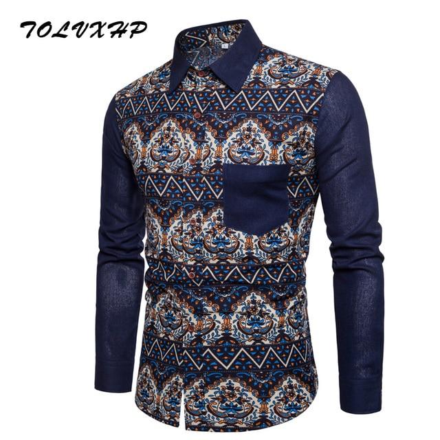 Для мужчин рубашка с длинным рукавом Slim Fit Цветочный принт мужская одежда сорочками конструкции Camisa социальной Masculina Для мужчин Бизнес рубашка