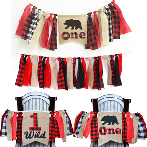 Happy Birthday Decorations for Baby One Letters Banners Red Lattice Decors Dining Chair Diy Ribbon Flags for Party Favors Supply