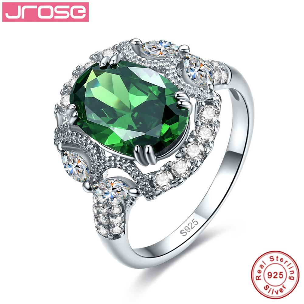 Jrose Women Created Emerald Engagement Ring 925 Sterling Silver Ring Luxurious Design Wedding Fine Jewelry Gift Box Size 6 7 8 9