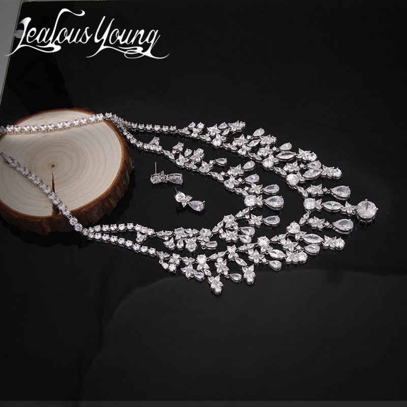 Gorgeous Luxury Bridal Jewelry Sets Poem of Spring Top Quality CZ Tassel Necklace Flower Earrings Bijoux