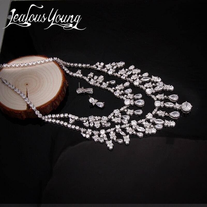 Magnifiques ensembles de Bijoux de mariée de luxe poème de printemps Top qualité CZ gland collier fleur boucles d'oreilles Bijoux accessoires AS079