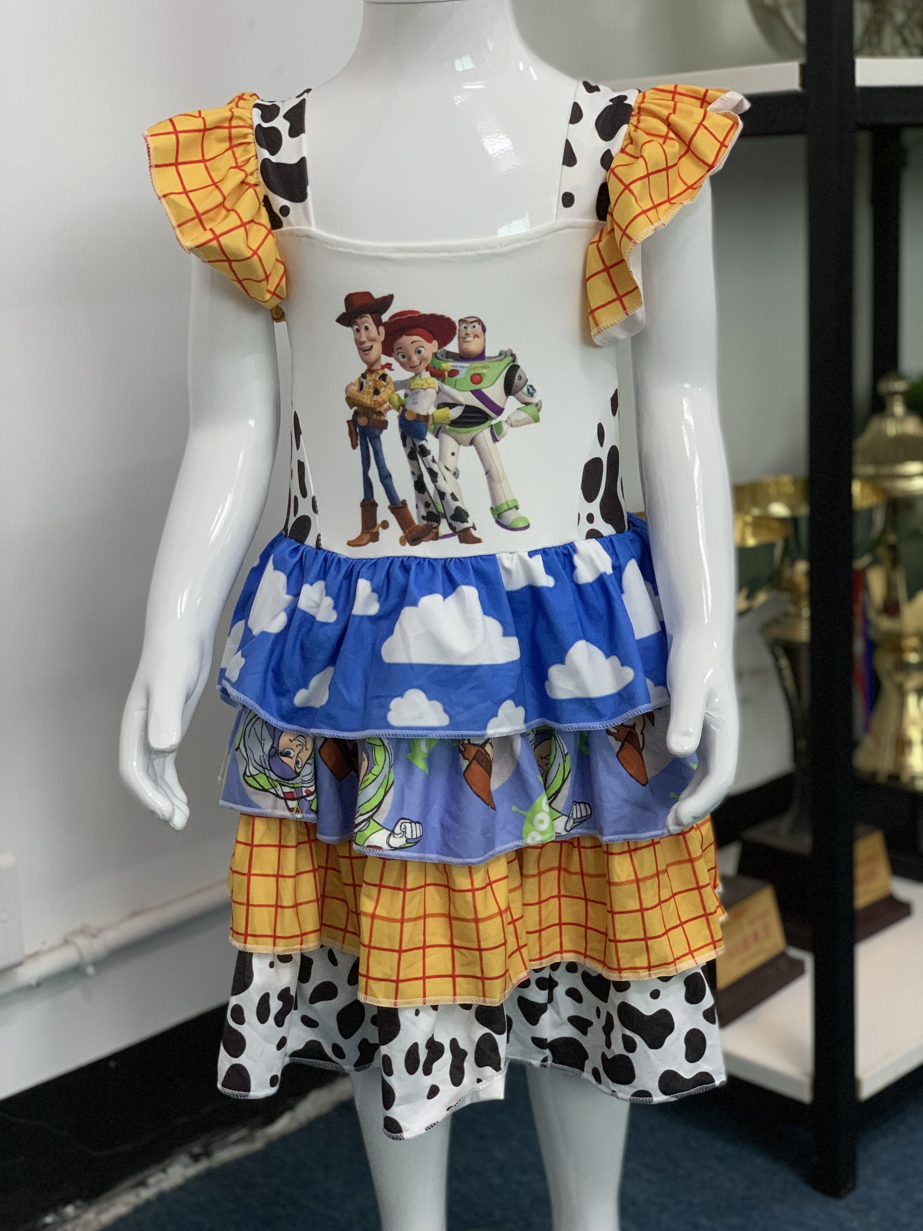 popular girls cartoon cute dress panel print kids boutique strap dress(China)
