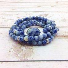 Женский браслет эластичный из бусин мала Йога ожерелье синий