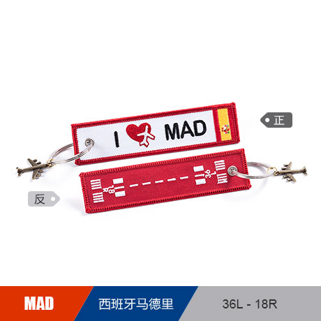 Spain Aeropuerto de Madrid MAD Airport Luggage Tag Embroider Metal Plane Bag Tag Best Gift for Flight Crew Pilot Aviation Lover